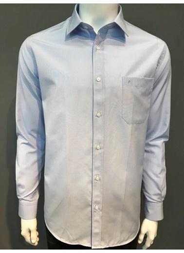 Abbate Kolay Ütülenır Klasık Yaka Çızgılı Regularfıt Ceplı Gömlek Mavi